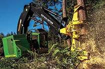 John Deere Feller Buncher with FR22B Felling Head at work in the forest