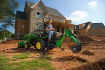 Worker using a 46 Backhoe at a residential construction site