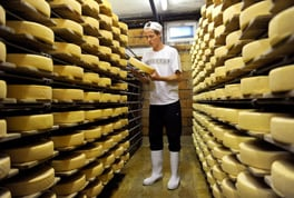 Marc Dubusson in the cold store room of the cheese factory