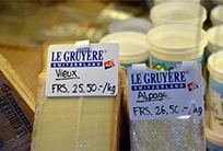 Rare Alpine Gruyère cheese, made from milk of cattle grazing in high summer pastures