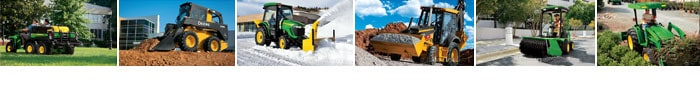 Several images of JohnDeere equipment at work on tough jobs