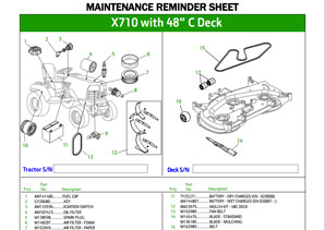 image of maintenance reminder sheet