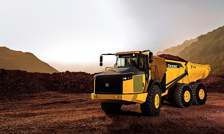 A front view of the 460E Articulated Dump Truck