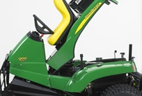John Deere bunker rake with raised cowling that shows easy service access
