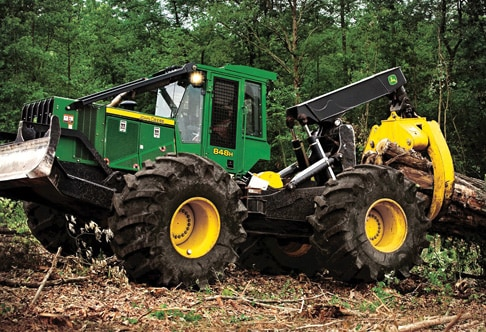 848H Grapple Skidder working in the forest