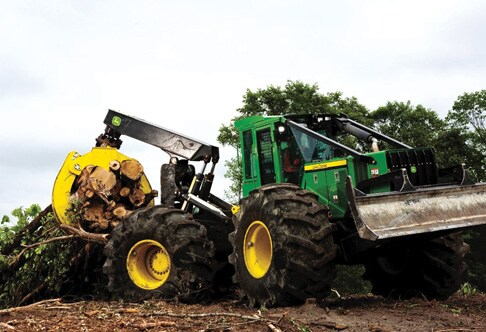 848H Grapple Skidder demonstrating its versitility
