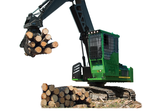 2454D Forestry Swing Machine piling up logs