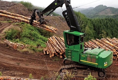 2954D Forestry Swing Machine piling logs in the mountains