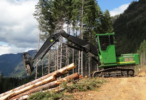 3754D Forestry Swing Machine piling logs on a hill with mountains in the background
