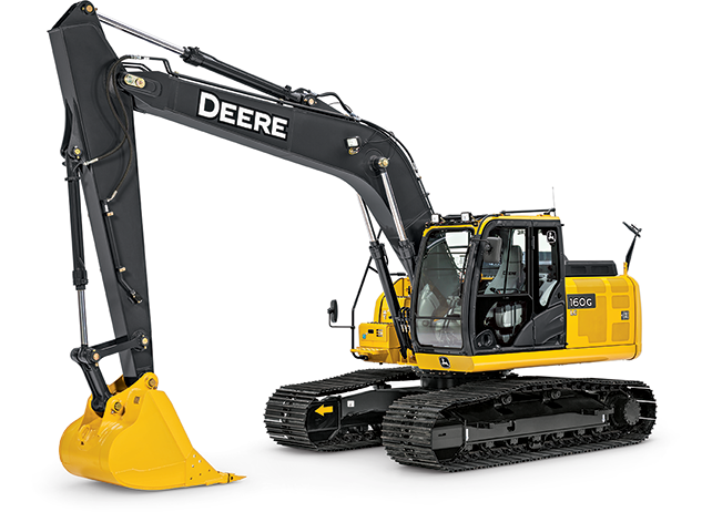 Studio view of a 160G LC Excavator