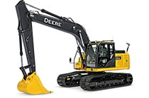 Studio view of a 180G LC Excavator