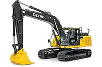 Studio view of a 210G LC Excavator
