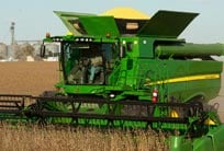 S-Series Combine with a view of the 400-bushel grain tank