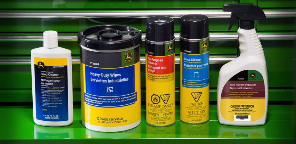from left to right: hand cleaner, heavy-duty wipes, all-purpose cleaner, glass cleaner, and multi-purpose degreaser