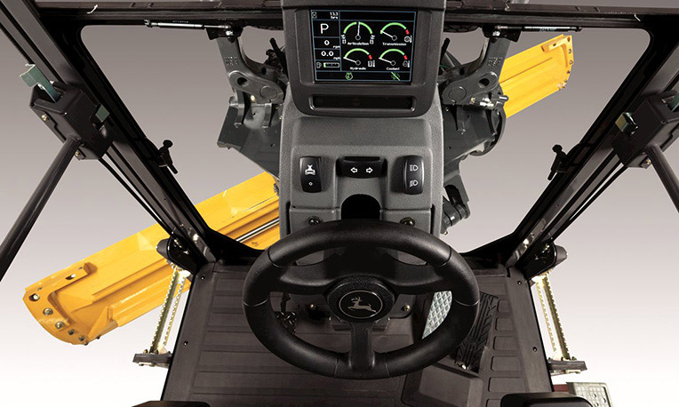 Inside view of a motor grader cab