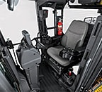 Spacious walk-through cab