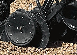 Closeup of the air drills in soil