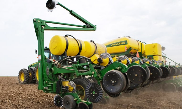 Close-up side profile of a Deere Drawn Planter