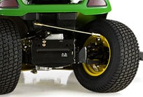 Close-up image of wheels turned to demonstrate 4-wheel Steer