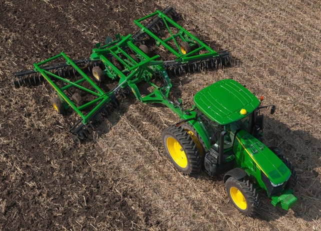 Overhead view of 2625 Three-Section Tandem Disks for Primary Tillage