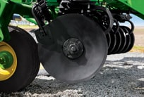 Close-up of gang bolt on tillage equipment