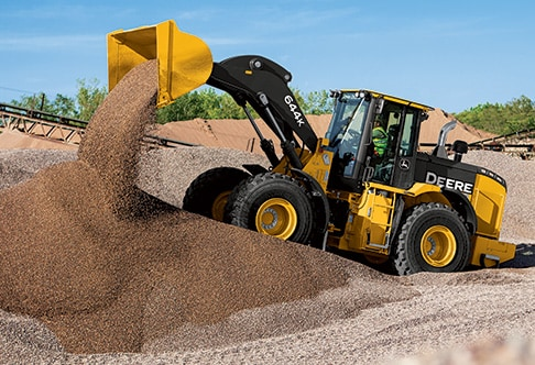 644K wheel loader dumping a bucket full of gravel