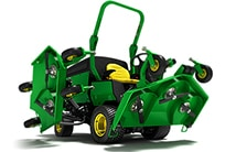 Wide area mower with decks raised showing underside