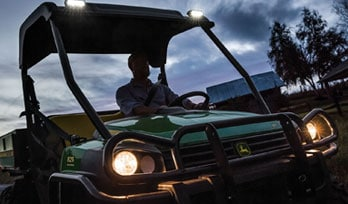 Gator Utility Vehicle on trail with LED lights