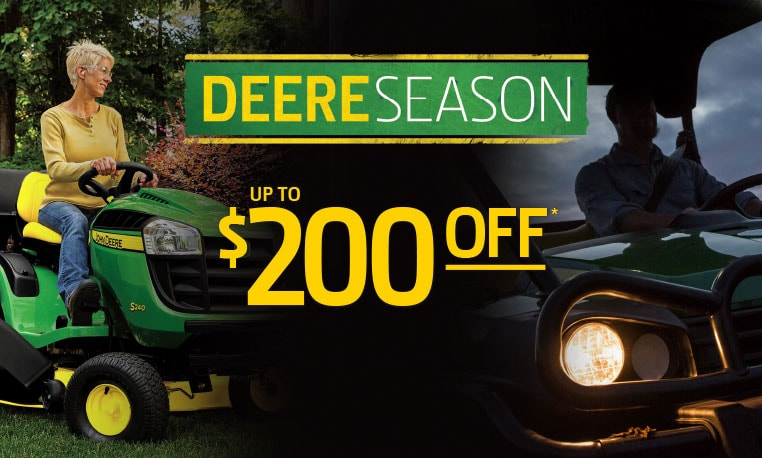 Save up to $200 on parts and attachments during Deere Season