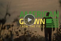 Silhouette of man in field with American Grown video title