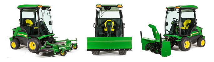 Studio photos of front mowers with various attachments