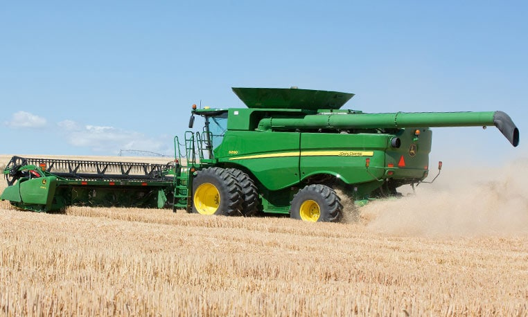 combine moving uphill