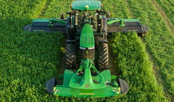Mower Conditioner above shot moving through field