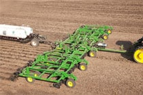 Overhead view of a 2410C Nutrient Applicator working in a field