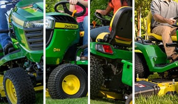 Multiple slices of images that show Riding Mowers
