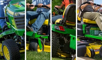 Multiple slices of images that show Ztraks and Riding Mowers