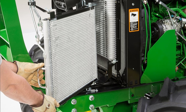 Close up image of cooling system inside tractor