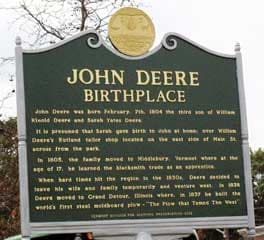 John Deere Birth Place Marker