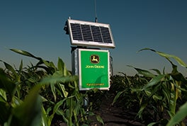 The Field Connect system logs soil moisture data from probes installed in customer fields and transmits the data to a website for customers to access remotely.
