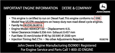 John Deere Emission Certified Label
