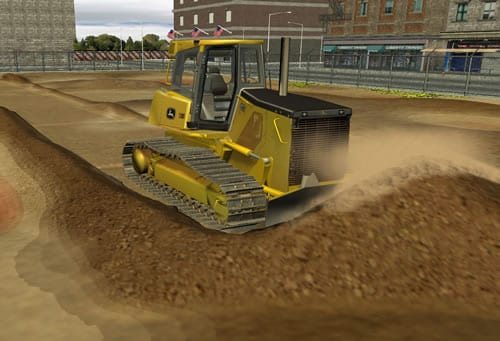 Move dirt and aggregate in a detailed virtual jobsite.