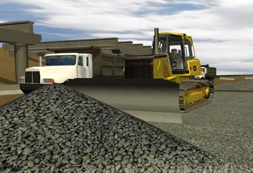 Spread base stone while signaling and working around dump trucks.