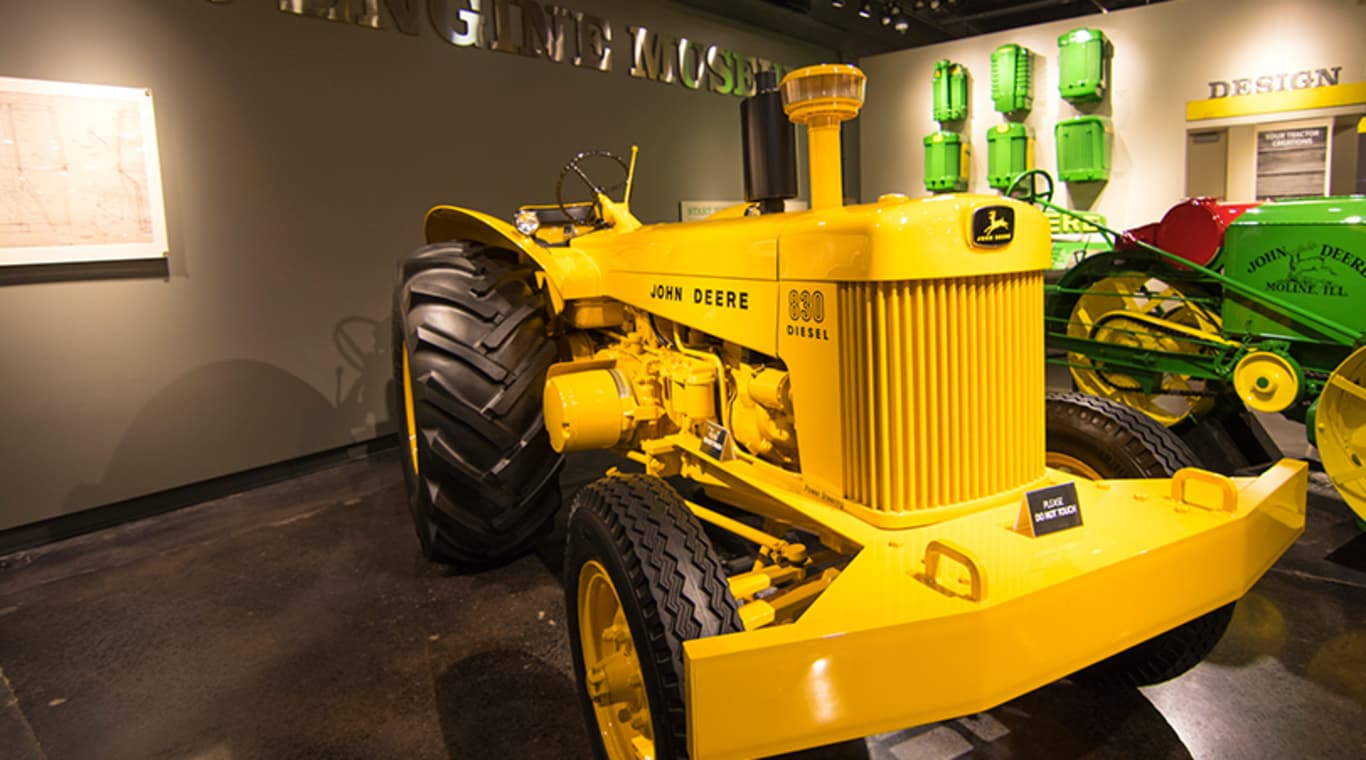 A vintage model 830 tractor on display