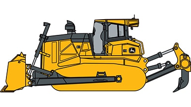 Line art of a John Deere Dozer