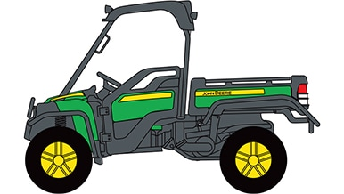 Line art of a John Deere Gator