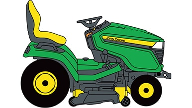 Line art of a John Deere Lawn Mower