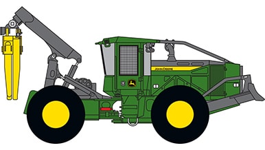 Line art of a John Deere Skidder