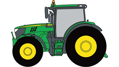 Line art of a John Deere Wheeled Tractor