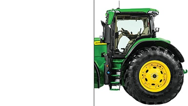 Photo of only half of a John Deere Wheeled Tractor