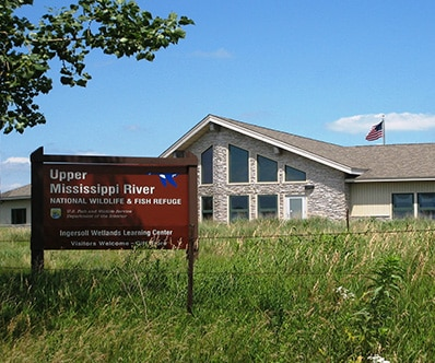 Exterior of the Ingersoll Wetland Learning Center in Thomson, IL